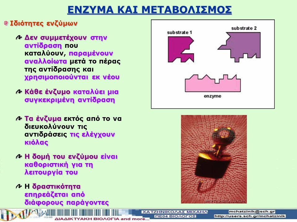 Ιδιότητες ενζύμων Δεν συμμετέχουνστην αντίδραση παραμένουν αναλλοίωτα χρησιμοποιούνται εκ νέου Δεν συμμετέχουν στην αντίδραση που καταλύουν, παραμένουν αναλλοίωτα μετά το πέρας της αντίδρασης και χρησιμοποιούνται εκ νέου Κάθε ένζυμοκαταλύει μια συγκεκριμένη αντίδραση Κάθε ένζυμο καταλύει μια συγκεκριμένη αντίδραση Τα ένζυμα τις ελέγχουν κιόλας Τα ένζυμα εκτός από το να διευκολύνουν τις αντιδράσεις τις ελέγχουν κιόλας Η δομή του ενζύμου είναι καθοριστική για τη λειτουργία του δραστικότητα επηρεάζεται από διάφορους παράγοντες Η δραστικότητα επηρεάζεται από διάφορους παράγοντες ΕΝΖΥΜΑ ΚΑΙ ΜΕΤΑΒΟΛΙΣΜΟΣ