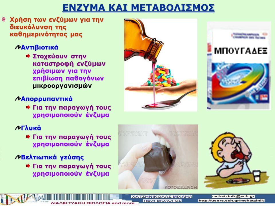 Χρήση των ενζύμων για την διευκόλυνση της καθημερινότητας μας Αντιβιοτικά Στοχεύουν στην καταστροφή ενζύμων χρήσιμων για την επιβίωση παθογόνων Στοχεύουν στην καταστροφή ενζύμων χρήσιμων για την επιβίωση παθογόνων μικροοργανισμώνΑπορρυπαντικά Για την παραγωγή τους χρησιμοποιούν ένζυμα Γλυκά Βελτιωτικά γεύσης Για την παραγωγή τους χρησιμοποιούν ένζυμα ΕΝΖΥΜΑ ΚΑΙ ΜΕΤΑΒΟΛΙΣΜΟΣ