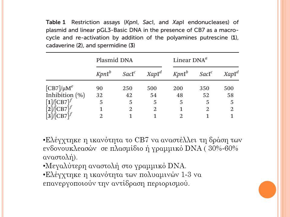 Ελέγχτηκε η ικανότητα το CB7 να αναστέλλει τη δράση των ενδονουκλεασών σε πλασμίδιο ή γραμμικό DNA ( 30%-60% αναστολή).