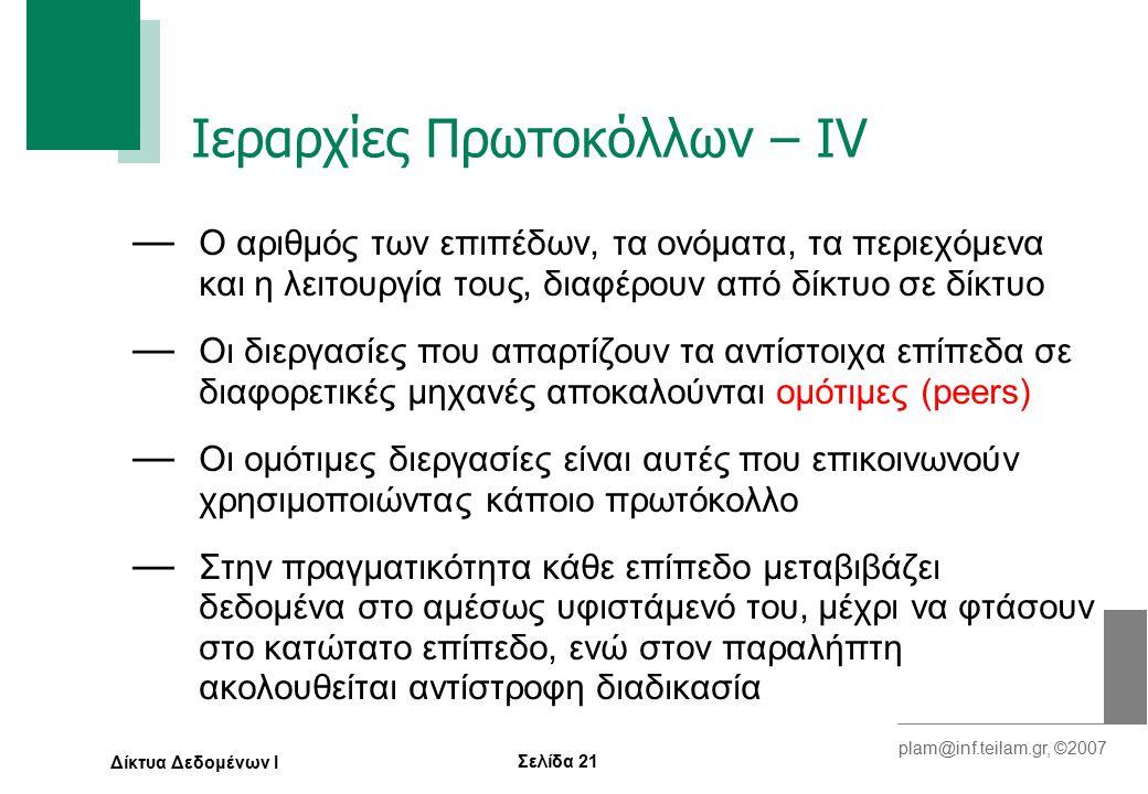 Σελίδα 21 plam@inf.teilam.gr, ©2007 Δίκτυα Δεδομένων Ι Ιεραρχίες Πρωτοκόλλων – ΙV — Ο αριθμός των επιπέδων, τα ονόματα, τα περιεχόμενα και η λειτουργία τους, διαφέρουν από δίκτυο σε δίκτυο — Οι διεργασίες που απαρτίζουν τα αντίστοιχα επίπεδα σε διαφορετικές μηχανές αποκαλούνται ομότιμες (peers) — Οι ομότιμες διεργασίες είναι αυτές που επικοινωνούν χρησιμοποιώντας κάποιο πρωτόκολλο — Στην πραγματικότητα κάθε επίπεδο μεταβιβάζει δεδομένα στο αμέσως υφιστάμενό του, μέχρι να φτάσουν στο κατώτατο επίπεδο, ενώ στον παραλήπτη ακολουθείται αντίστροφη διαδικασία