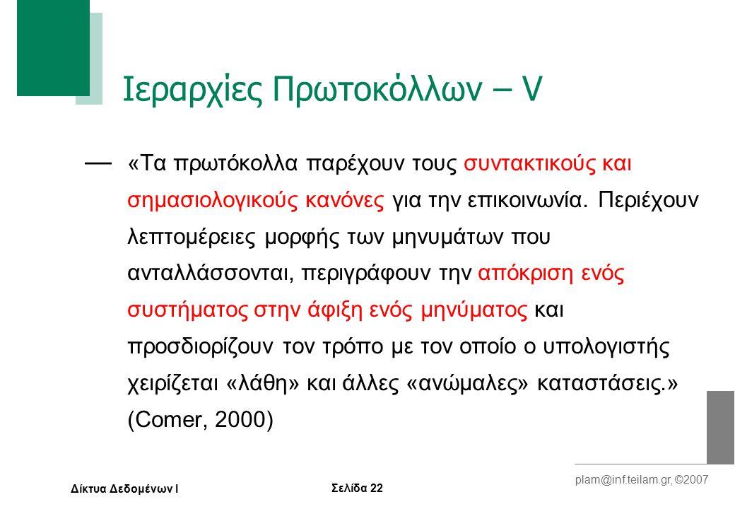 Σελίδα 22 plam@inf.teilam.gr, ©2007 Δίκτυα Δεδομένων Ι Ιεραρχίες Πρωτοκόλλων – V — «Τα πρωτόκολλα παρέχουν τους συντακτικούς και σημασιολογικούς κανόνες για την επικοινωνία.