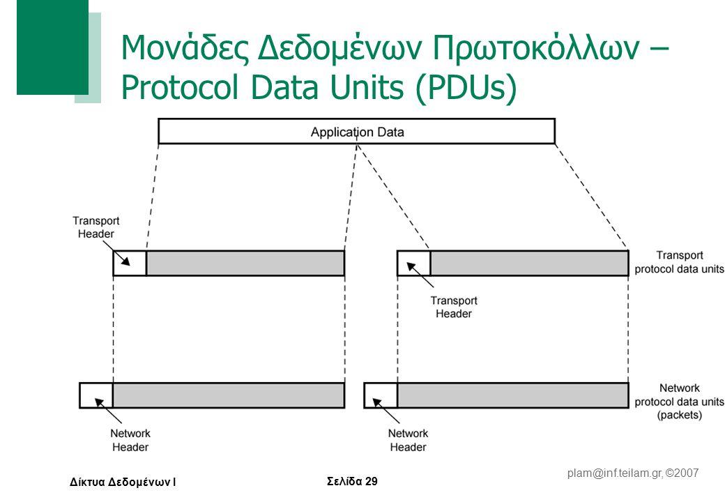 Σελίδα 29 plam@inf.teilam.gr, ©2007 Δίκτυα Δεδομένων Ι Μονάδες Δεδομένων Πρωτοκόλλων – Protocol Data Units (PDUs)