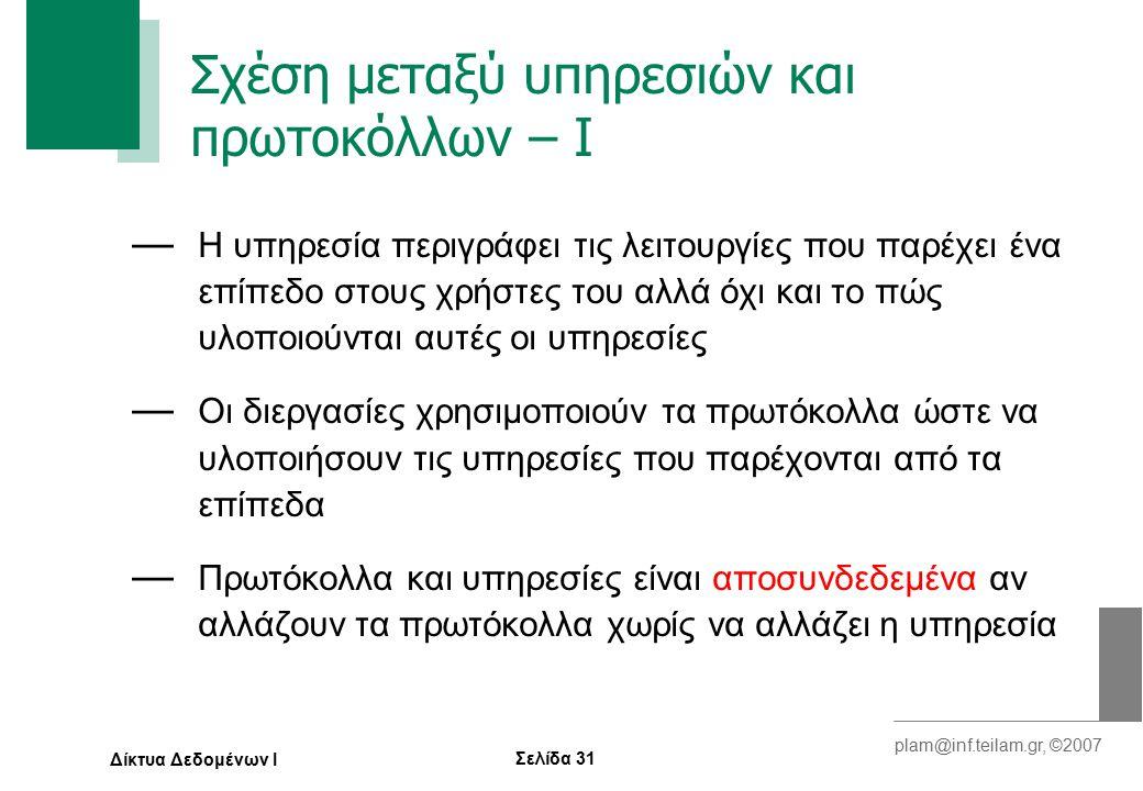Σελίδα 31 plam@inf.teilam.gr, ©2007 Δίκτυα Δεδομένων Ι Σχέση μεταξύ υπηρεσιών και πρωτοκόλλων – Ι — Η υπηρεσία περιγράφει τις λειτουργίες που παρέχει ένα επίπεδο στους χρήστες του αλλά όχι και το πώς υλοποιούνται αυτές οι υπηρεσίες — Οι διεργασίες χρησιμοποιούν τα πρωτόκολλα ώστε να υλοποιήσουν τις υπηρεσίες που παρέχονται από τα επίπεδα — Πρωτόκολλα και υπηρεσίες είναι αποσυνδεδεμένα αν αλλάζουν τα πρωτόκολλα χωρίς να αλλάζει η υπηρεσία