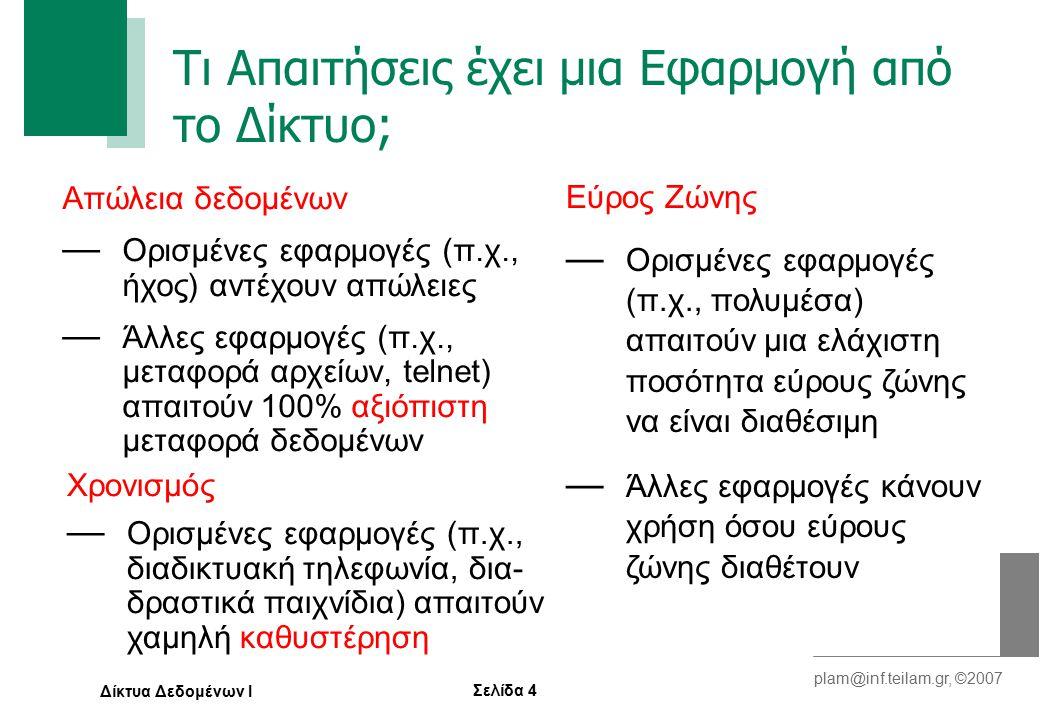 Σελίδα 4 plam@inf.teilam.gr, ©2007 Δίκτυα Δεδομένων Ι Τι Απαιτήσεις έχει μια Εφαρμογή από το Δίκτυο; Απώλεια δεδομένων — Ορισμένες εφαρμογές (π.χ., ήχος) αντέχουν απώλειες — Άλλες εφαρμογές (π.χ., μεταφορά αρχείων, telnet) απαιτούν 100% αξιόπιστη μεταφορά δεδομένων Χρονισμός — Ορισμένες εφαρμογές (π.χ., διαδικτυακή τηλεφωνία, δια- δραστικά παιχνίδια) απαιτούν χαμηλή καθυστέρηση Εύρος Ζώνης — Ορισμένες εφαρμογές (π.χ., πολυμέσα) απαιτούν μια ελάχιστη ποσότητα εύρους ζώνης να είναι διαθέσιμη — Άλλες εφαρμογές κάνουν χρήση όσου εύρους ζώνης διαθέτουν