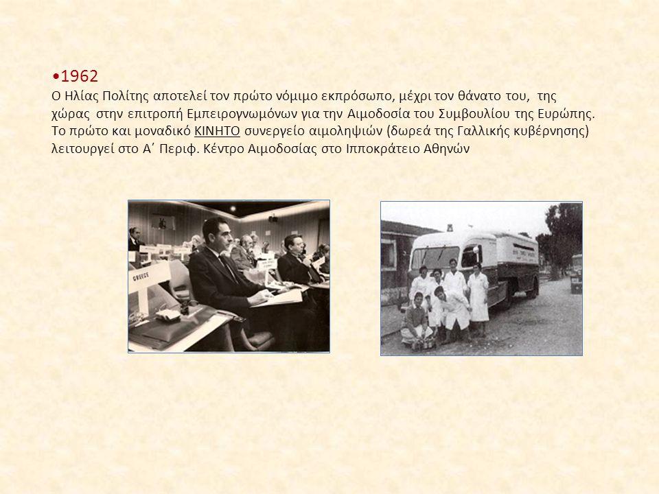 1962 Ο Ηλίας Πολίτης αποτελεί τον πρώτο νόμιμο εκπρόσωπο, μέχρι τον θάνατο του, της χώρας στην επιτροπή Εμπειρογνωμόνων για την Αιμοδοσία του Συμβουλί