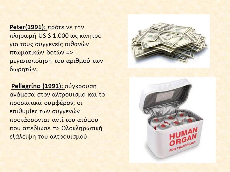 Peter(1991): πρότεινε την πληρωμή US $ 1.000 ως κίνητρο για τους συγγενείς πιθανών πτωματικών δοτών => μεγιστοποίηση του αριθμού των δωρητών. Pellegrί