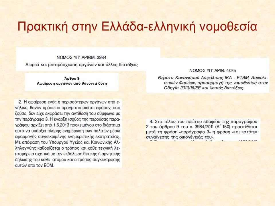 Πρακτική στην Ελλάδα-ελληνική νομοθεσία
