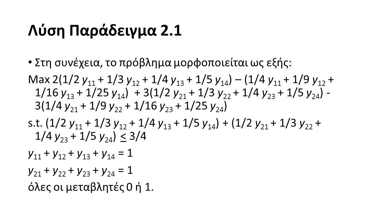 Παράδειγμα 2.2 Δίνεται το παρακάτω πρόβλημα ακέραιου προγραμματισμού: Max Z = x 1 + 5x 2 s.t.