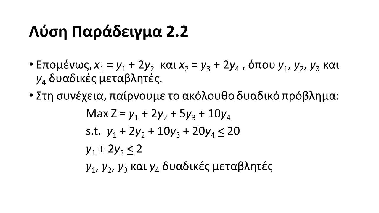 Λύση Παράδειγμα 2.2 Ο κώδικάς στο LINGO είναι ο εξής: MAX = Y1 + 2*Y2 + 5*Y3 + 10*Y4; Y1 + 2*Y2 + 10*Y3 + 20*Y4 <= 20; Y1 + 2*Y2 <= 2; @BIN(Y1); @BIN(Y2); @BIN(Y3); @BIN(Y4);