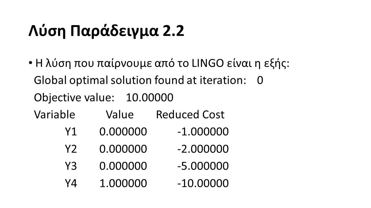 Λύση Παράδειγμα 2.2 Row Slack or Surplus Dual Price 1 10.00000 1.000000 2 0.000000 0.000000 3 2.000000 0.000000 Επομένως, η βέλτιστη λύση του αρχικού προβλήματος είναι x 1 = 0 + 2(0) = 0 και x 2 = 0 + 2(1) = 2 και Ζ = 0 + 2(0) + 5(0) + 10(1) = 10.