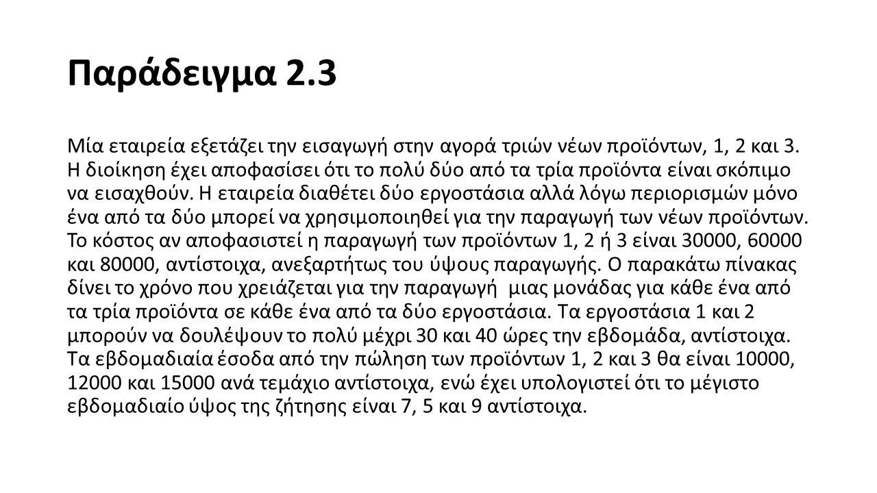 Παράδειγμα 2.3 α) Μορφοποιήστε ένα πρόβλημα ακέραιου προγραμματισμού για αυτό το πρόβλημα.