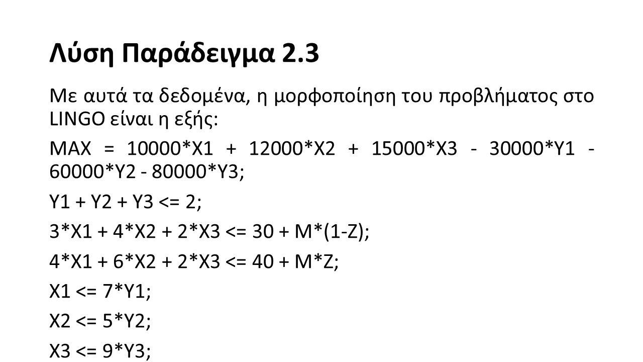 Λύση Παράδειγμα 2.3 @BIN(Y1); @BIN(Y2); @BIN(Y3); @BIN(Z); @GIN(X1); @GIN(X2); @GIN(X3); M = 100;
