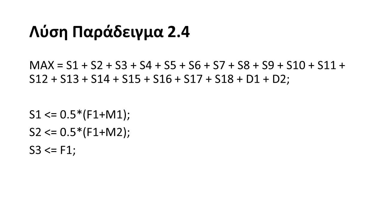 Λύση Παράδειγμα 2.4 S4 <= 0.5*(F2+M1); S5 <= 0.5*(F2+M4); S6 <= 0.5*(F3+M2); S7 <= 0.5*(F3+M3); S8 <= 0.5*(F3+M4); S9 <= F3;