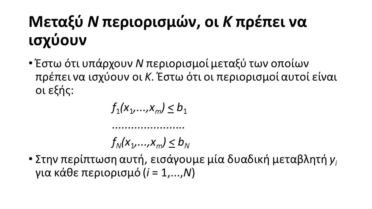 Μεταξύ N περιορισμών, οι K πρέπει να ισχύουν Γράφουμε τους περιορισμούς ως εξής: f 1 (x 1,...,x m ) < b 1 + My 1.......................