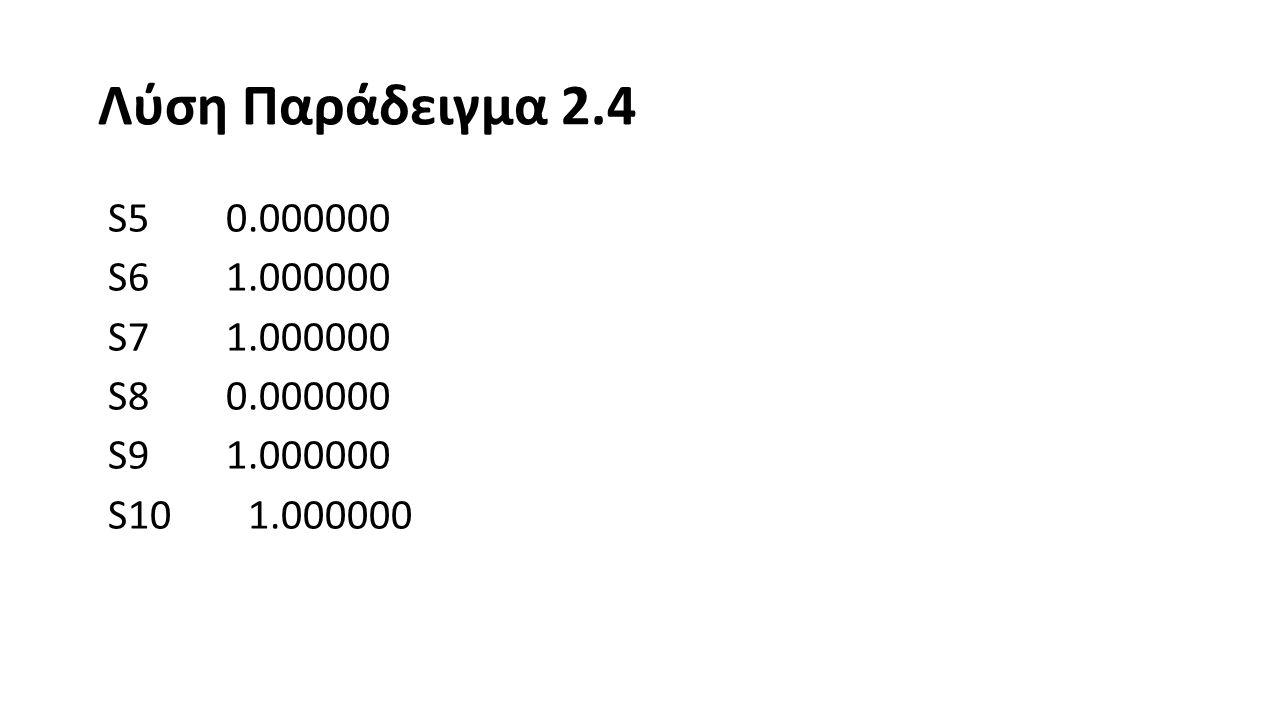 Λύση Παράδειγμα 2.4 S11 1.000000 S12 1.000000 S13 1.000000 S14 0.000000 S15 1.000000