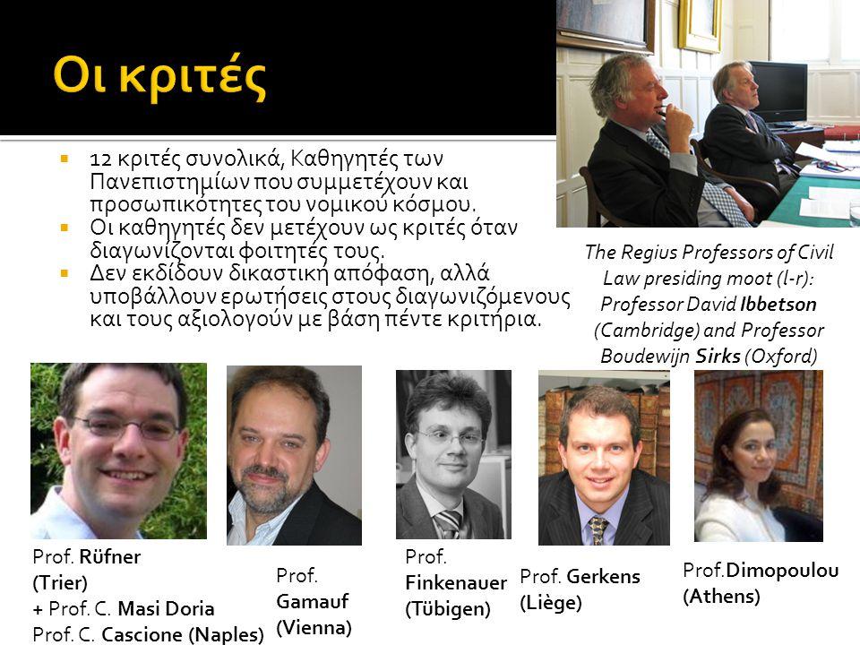  12 κριτές συνολικά, Καθηγητές των Πανεπιστημίων που συμμετέχουν και προσωπικότητες του νομικού κόσμου.