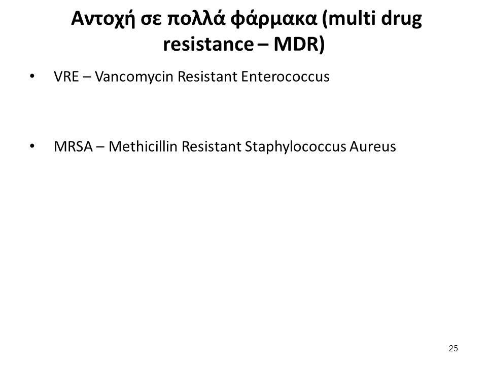 Αντοχή σε πολλά φάρμακα (multi drug resistance – MDR) VRE – Vancomycin Resistant Enterococcus MRSA – Methicillin Resistant Staphylococcus Aureus 25