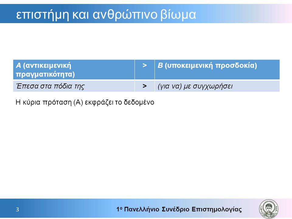 επιστήμη και ανθρώπινο βίωμα 1 ο Πανελλήνιο Συνέδριο Επιστημολογίας 3 Α (αντικειμενική πραγματικότητα) >Β (υποκειμενική προσδοκία) Έπεσα στα πόδια της