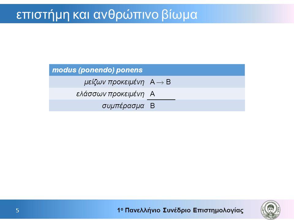 επιστήμη και ανθρώπινο βίωμα 1 ο Πανελλήνιο Συνέδριο Επιστημολογίας 5 modus (ponendo) ponens μείζων προκειμένη Α  Β ελάσσων προκειμένηΑ συμπέρασμαΒ