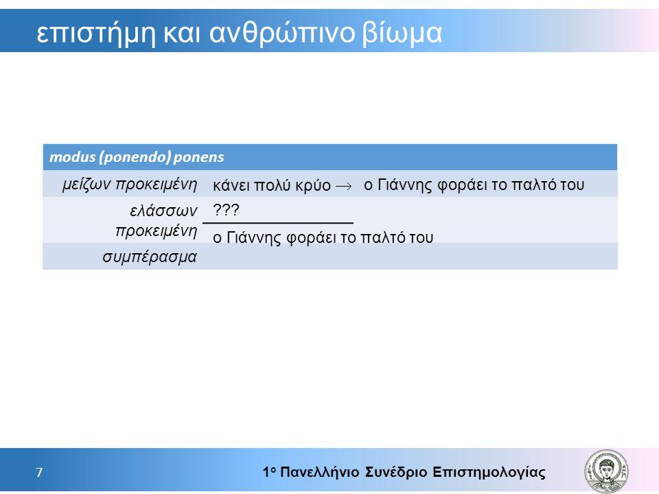 επιστήμη και ανθρώπινο βίωμα 1 ο Πανελλήνιο Συνέδριο Επιστημολογίας 7 modus (ponendo) ponens μείζων προκειμένη ελάσσων προκειμένη συμπέρασμα  κάνει π