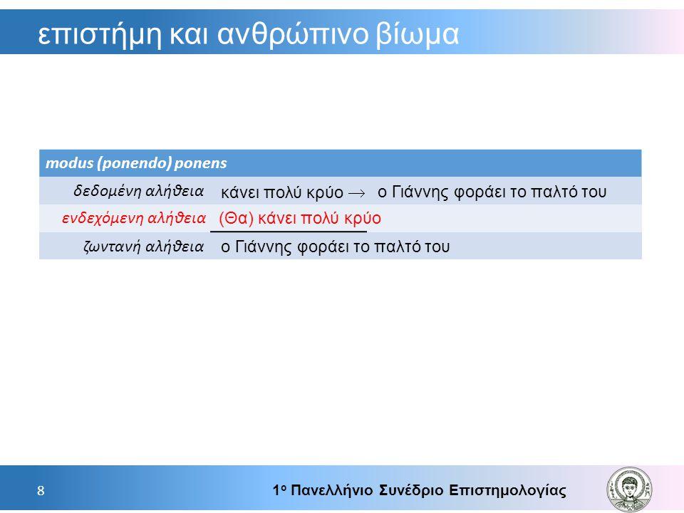 επιστήμη και ανθρώπινο βίωμα 1 ο Πανελλήνιο Συνέδριο Επιστημολογίας 8 modus (ponendo) ponens δεδομένη αλήθεια ζωντανή αλήθεια  κάνει πολύ κρύο ο Γιάν