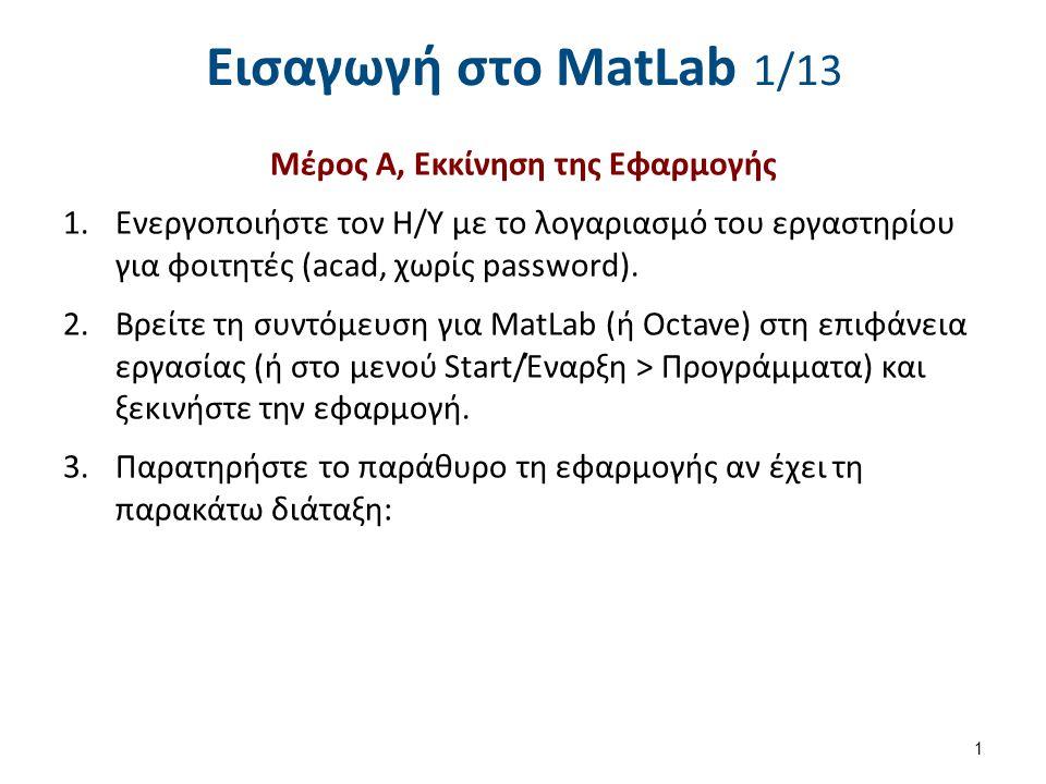 Εισαγωγή στο MatLab 2/13 Octave 2 MatLab 4.Εάν διαφέρει (ο προηγούμενος χρήστης μπορεί να άλλαξε τη διάταξη), να την επαναφέρετε στη προεπιλογή της (default) από το μενού της εφαρμογής: a.MatLab: Desktop > Desktop Layout > Default b.Octave: Window > Reset Default Window Layout