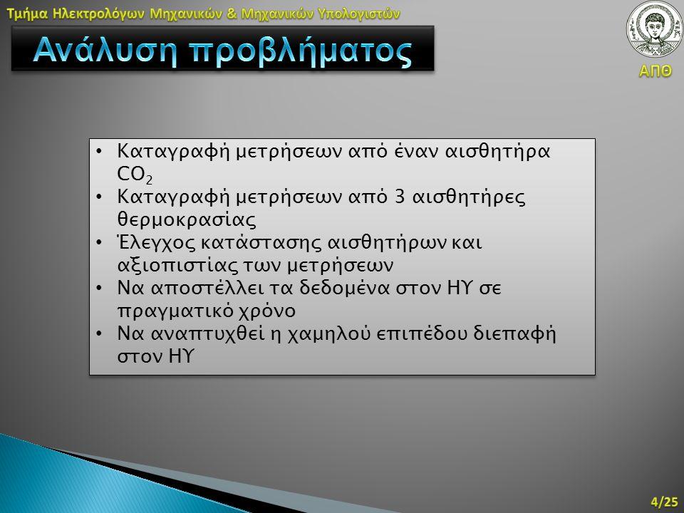 Καταγραφή μετρήσεων από έναν αισθητήρα CO 2 Καταγραφή μετρήσεων από 3 αισθητήρες θερμοκρασίας Έλεγχος κατάστασης αισθητήρων και αξιοπιστίας των μετρήσ