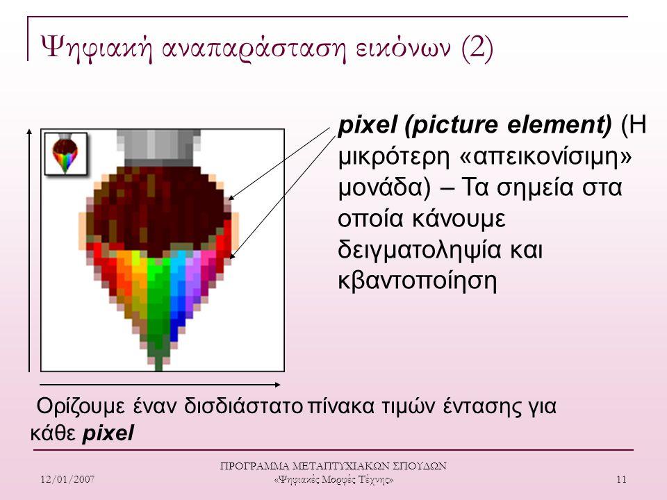 12/01/2007 ΠΡΟΓΡΑΜΜΑ ΜΕΤΑΠΤΥΧΙΑΚΩΝ ΣΠΟΥΔΩΝ «Ψηφιακές Μορφές Τέχνης» 11 Ορίζουμε έναν δισδιάστατο πίνακα τιμών έντασης για κάθε pixel pixel (picture element) (Η μικρότερη «απεικονίσιμη» μονάδα) – Τα σημεία στα οποία κάνουμε δειγματοληψία και κβαντοποίηση Ψηφιακή αναπαράσταση εικόνων (2)