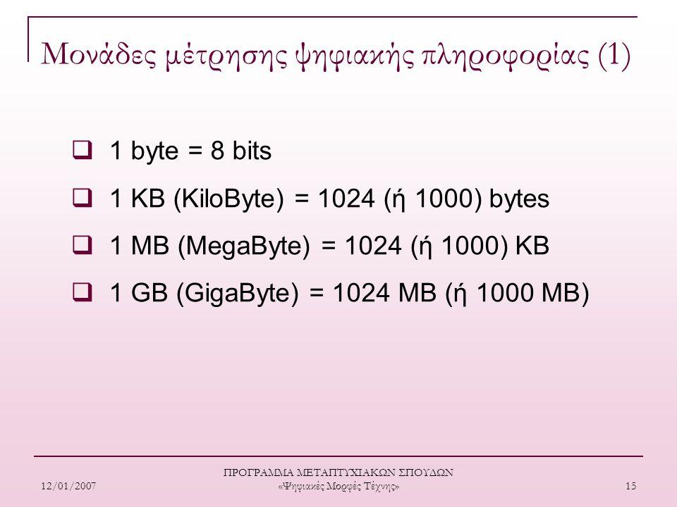 12/01/2007 ΠΡΟΓΡΑΜΜΑ ΜΕΤΑΠΤΥΧΙΑΚΩΝ ΣΠΟΥΔΩΝ «Ψηφιακές Μορφές Τέχνης» 15 Μονάδες μέτρησης ψηφιακής πληροφορίας (1)  1 byte = 8 bits  1 KB (KiloByte) = 1024 (ή 1000) bytes  1 MB (MegaByte) = 1024 (ή 1000) ΚB  1 GB (GigaByte) = 1024 ΜΒ (ή 1000 ΜΒ)
