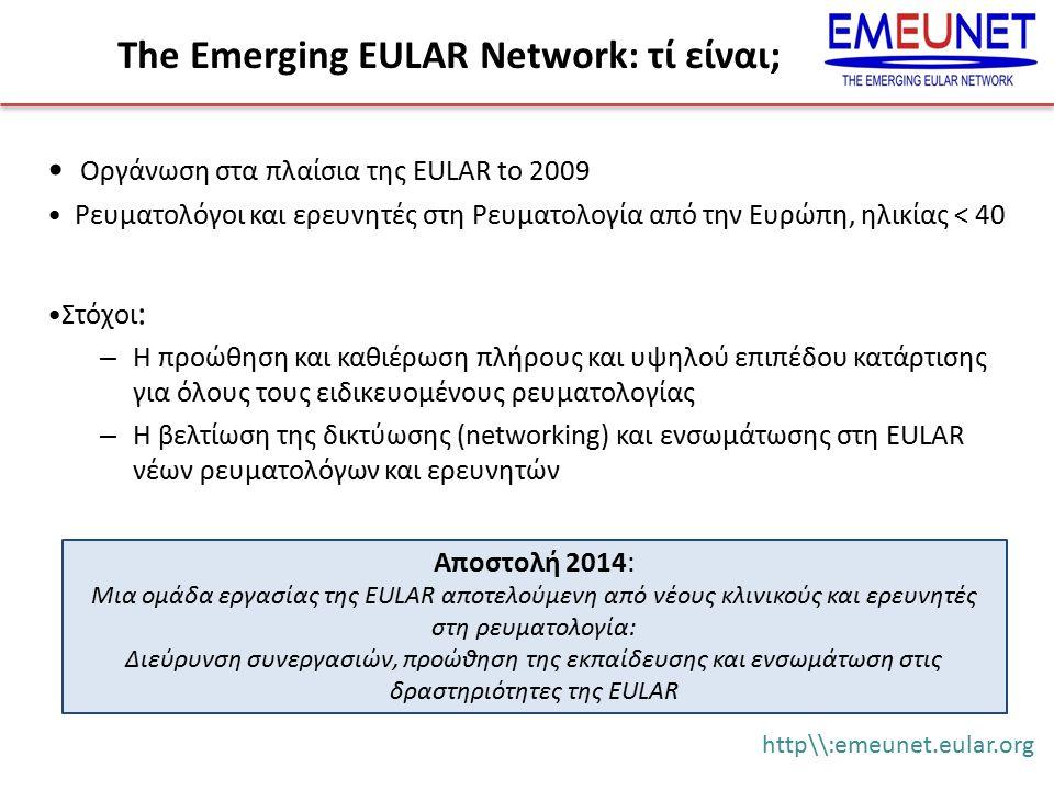 The Emerging EULAR Network: τί είναι; Οργάνωση στα πλαίσια της EULAR to 2009 Ρευματολόγοι και ερευνητές στη Ρευματολογία από την Ευρώπη, ηλικίας < 40