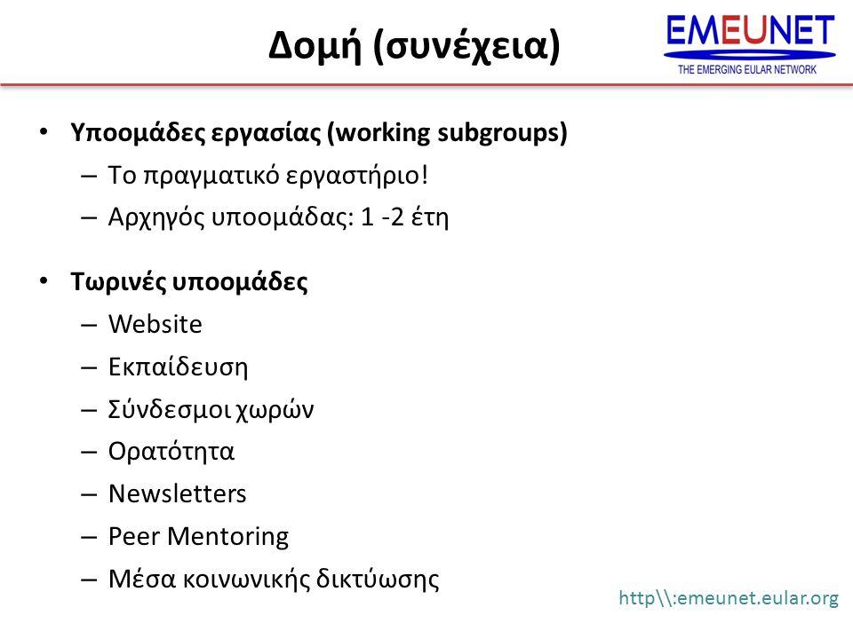 Υποομάδες εργασίας (working subgroups) – Tο πραγματικό εργαστήριο! – Αρχηγός υποομάδας: 1 -2 έτη Τωρινές υποομάδες – Website – Εκπαίδευση – Σύνδεσμοι