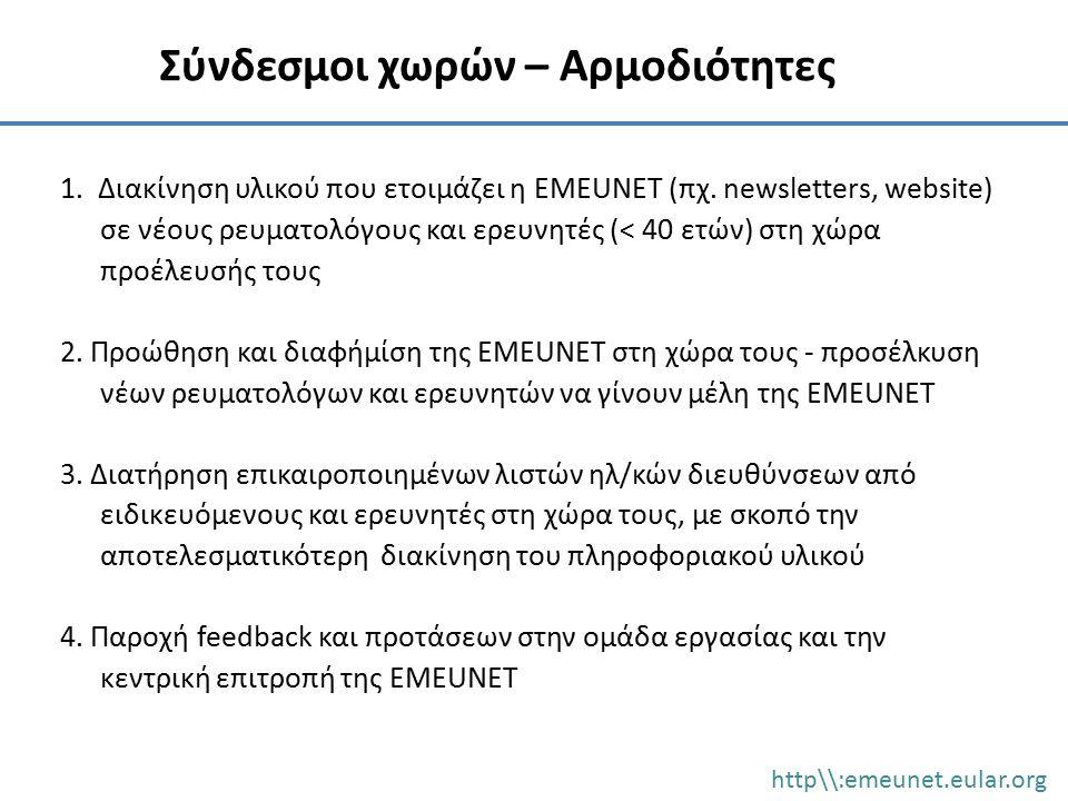 1. Διακίνηση υλικού που ετοιμάζει η EMEUNET (πχ. newsletters, website) σε νέους ρευματολόγους και ερευνητές (< 40 ετών) στη χώρα προέλευσής τους 2. Πρ