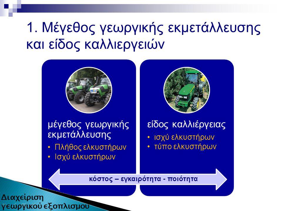 1. Μέγεθος γεωργικής εκμετάλλευσης και είδος καλλιεργειών μέγεθος γεωργικής εκμετάλλευσης Πλήθος ελκυστήρων Ισχύ ελκυστήρων είδος καλλιέργειας ισχύ ελ