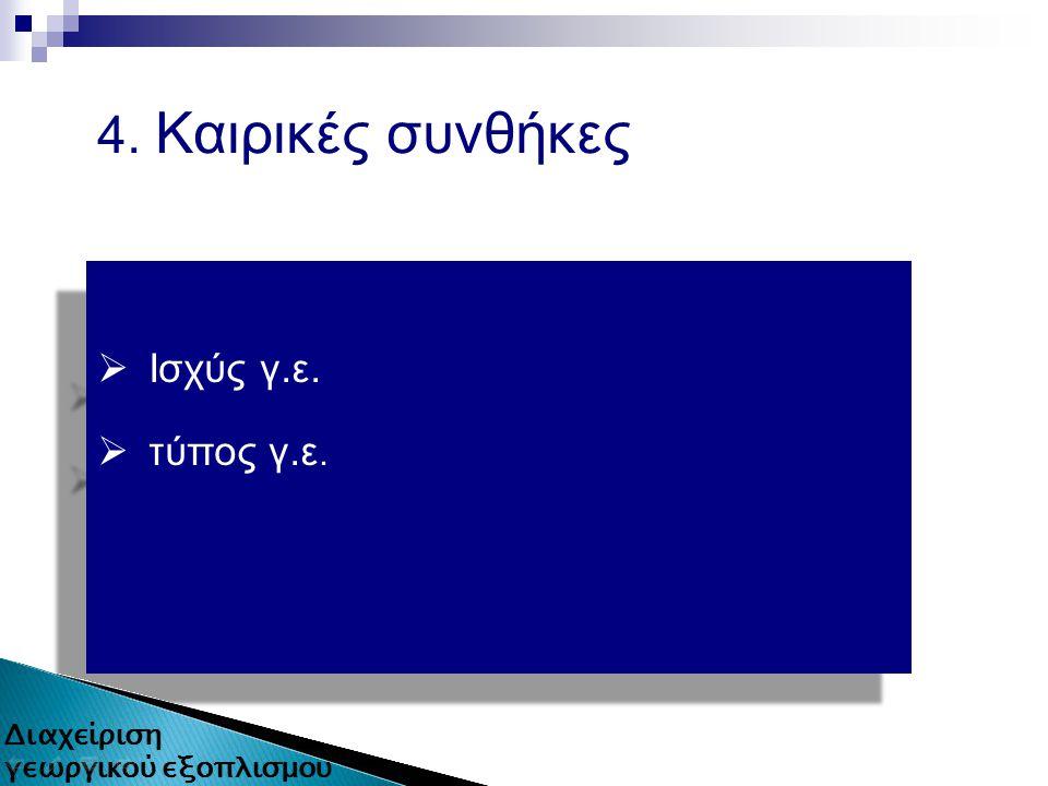4. Καιρικές συνθήκες  Ισχύς γ.ε.  τύπος γ.ε.  Ισχύς γ.ε.  τύπος γ.ε. 11 από 80