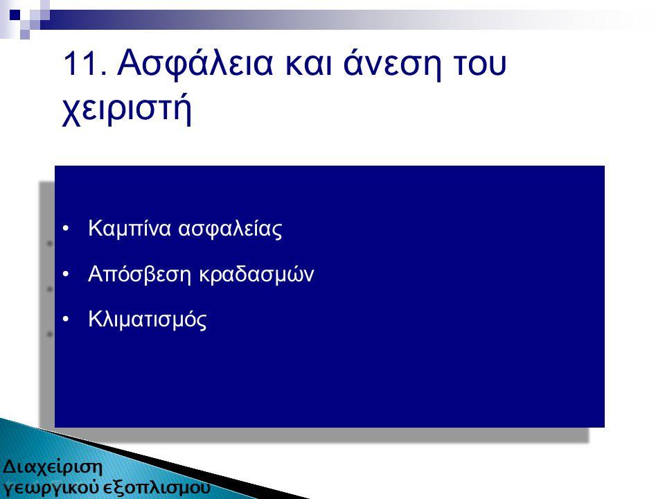 11. Ασφάλεια και άνεση του χειριστή Καμπίνα ασφαλείας Απόσβεση κραδασμών Κλιματισμός Καμπίνα ασφαλείας Απόσβεση κραδασμών Κλιματισμός 18 από 80