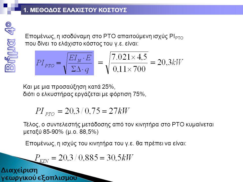 Επομένως, η ισοδύναμη στο ΡΤΟ απαιτούμενη ισχύς ΡΙ ΡΤΟ που δίνει το ελάχιστο κόστος του γ.ε.