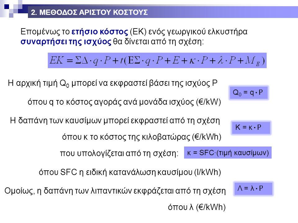 Επομένως το ετήσιο κόστος (ΕΚ) ενός γεωργικού ελκυστήρα συναρτήσει της ισχύος θα δίνεται από τη σχέση: Η αρχική τιμή Q 0 μπορεί να εκφραστεί βάσει της ισχύος P Q 0 = q P όπου q το κόστος αγοράς ανά μονάδα ισχύος (€/kW) Η δαπάνη των καυσίμων μπορεί εκφραστεί από τη σχέση K = κ P όπου κ το κόστος της κιλοβατώρας (€/kWh) που υπολογίζεται από τη σχέση: κ = SFC·(τιμή καυσίμων) όπου SFC η ειδική κατανάλωση καυσίμου (l/kWh) Ομοίως, η δαπάνη των λιπαντικών εκφράζεται από τη σχέση Λ = λ P όπου λ (€/kWh) 2.