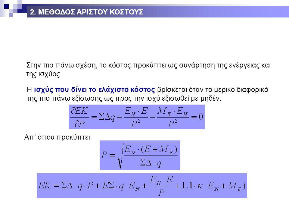 Στην πιο πάνω σχέση, το κόστος προκύπτει ως συνάρτηση της ενέργειας και της ισχύος Η ισχύς που δίνει το ελάχιστο κόστος βρίσκεται όταν το μερικό διαφορικό της πιο πάνω εξίσωσης ως προς την ισχύ εξισωθεί με μηδέν: Απ' όπου προκύπτει: 2.