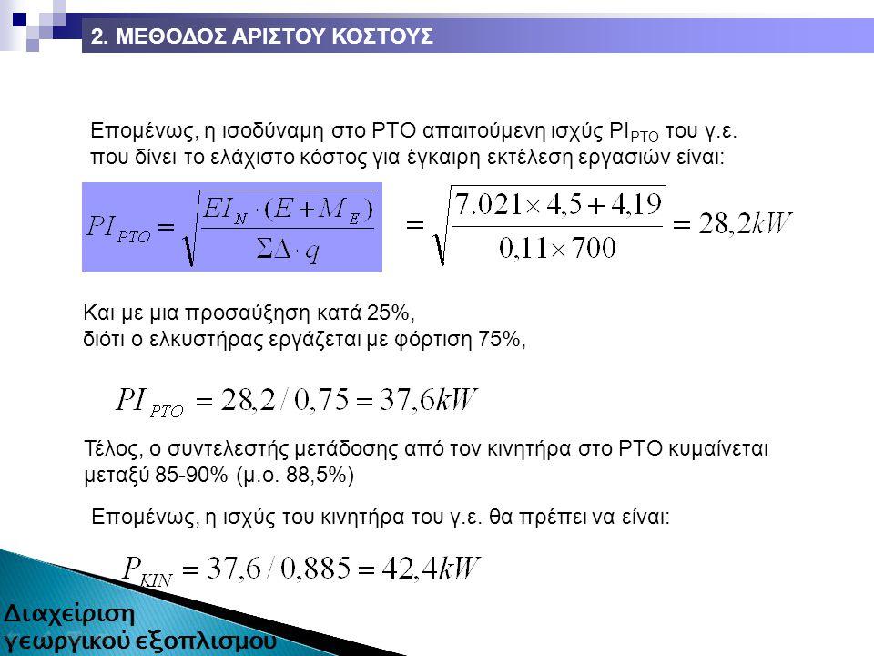 Επομένως, η ισοδύναμη στο ΡΤΟ απαιτούμενη ισχύς ΡΙ ΡΤΟ του γ.ε.