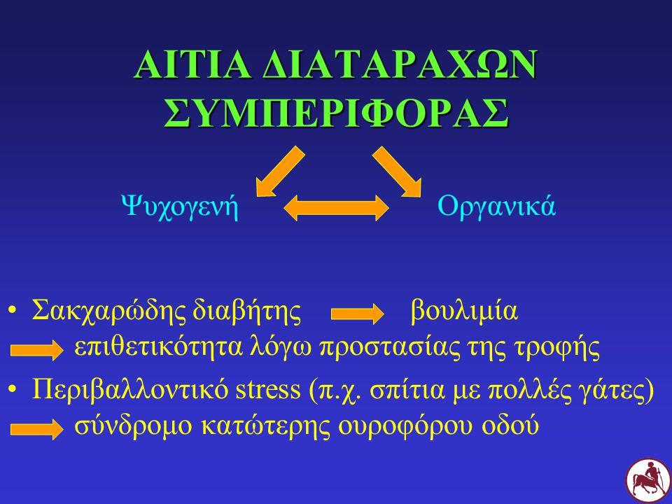 ΑΙΤΙΑ ΔΙΑΤΑΡΑΧΩΝ ΣΥΜΠΕΡΙΦΟΡΑΣ Σακχαρώδης διαβήτηςβουλιμία επιθετικότητα λόγω προστασίας της τροφής Περιβαλλοντικό stress (π.χ.