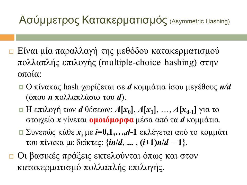  Είναι μία παραλλαγή της μεθόδου κατακερματισμού πολλαπλής επιλογής (multiple-choice hashing) στην οποία:  Ο πίνακας hash χωρίζεται σε d κομμάτια ίσου μεγέθους n/d (όπου n πολλαπλάσιο του d).