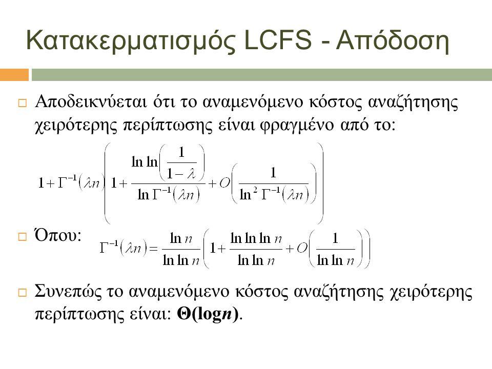 Κατακερματισμός LCFS - Απόδοση  Αποδεικνύεται ότι το αναμενόμενο κόστος αναζήτησης χειρότερης περίπτωσης είναι φραγμένο από το:  Όπου:  Συνεπώς το αναμενόμενο κόστος αναζήτησης χειρότερης περίπτωσης είναι: Θ(logn).