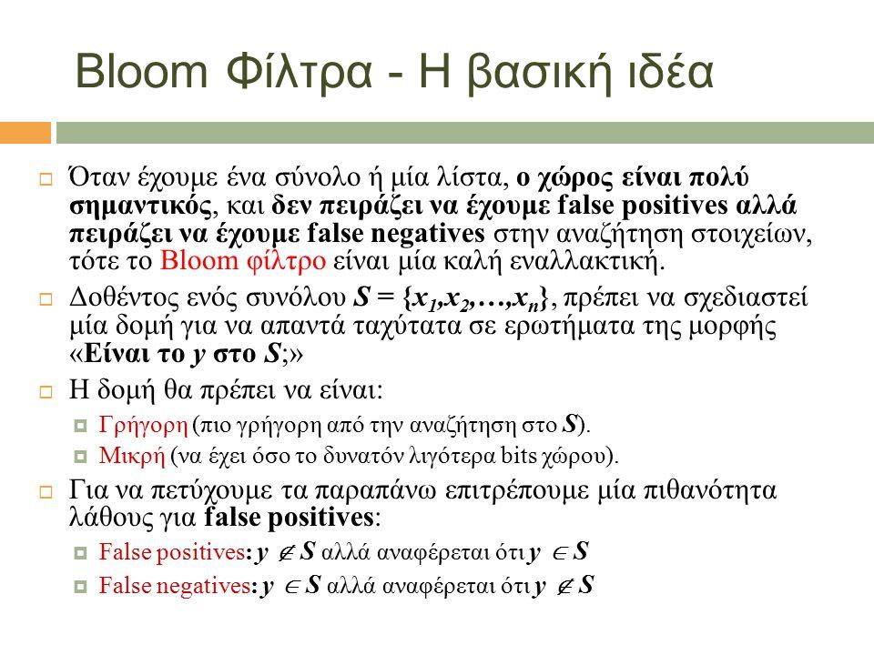 Bloom Φίλτρα - Η βασική ιδέα  Όταν έχουμε ένα σύνολο ή μία λίστα, ο χώρος είναι πολύ σημαντικός, και δεν πειράζει να έχουμε false positives αλλά πειράζει να έχουμε false negatives στην αναζήτηση στοιχείων, τότε το Bloom φίλτρο είναι μία καλή εναλλακτική.