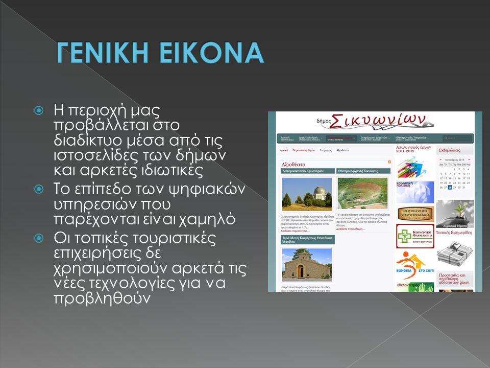  Η περιοχή μας προβάλλεται στο διαδίκτυο μέσα από τις ιστοσελίδες των δήμων και αρκετές ιδιωτικές  Το επίπεδο των ψηφιακών υπηρεσιών που παρέχονται είναι χαμηλό  Οι τοπικές τουριστικές επιχειρήσεις δε χρησιμοποιούν αρκετά τις νέες τεχνολογίες για να προβληθούν