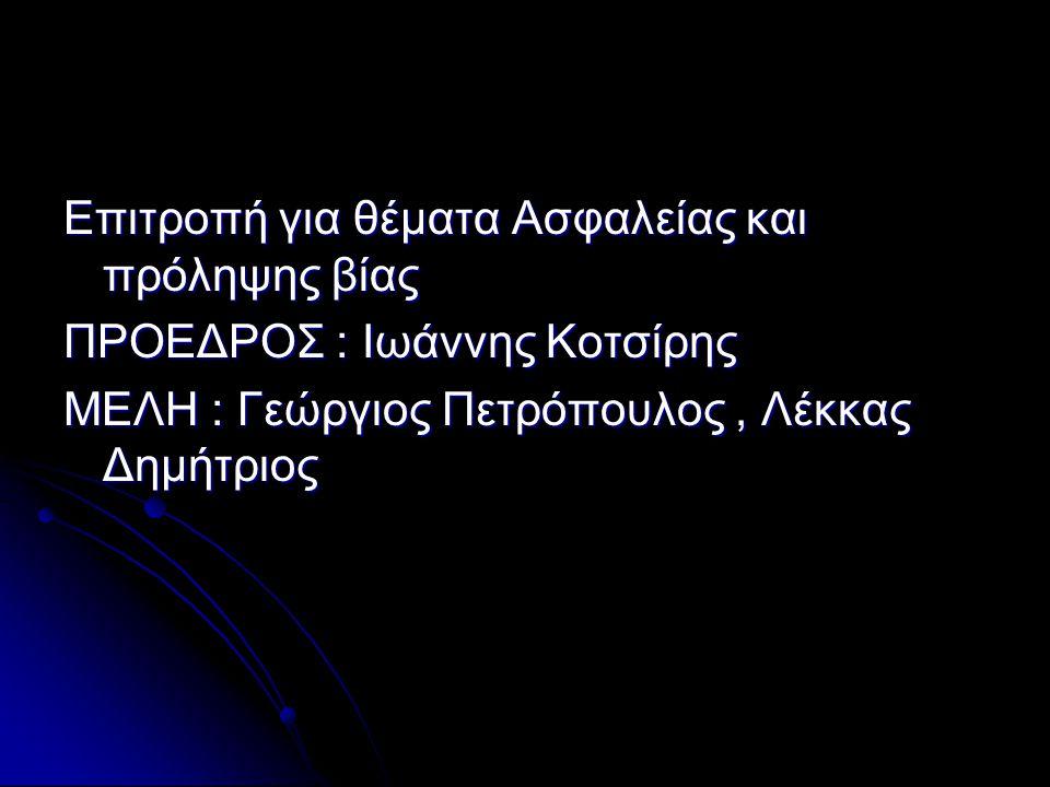 Επιτροπή για θέματα Ασφαλείας και πρόληψης βίας ΠΡΟΕΔΡΟΣ : Ιωάννης Κοτσίρης ΜΕΛΗ : Γεώργιος Πετρόπουλος, Λέκκας Δημήτριος
