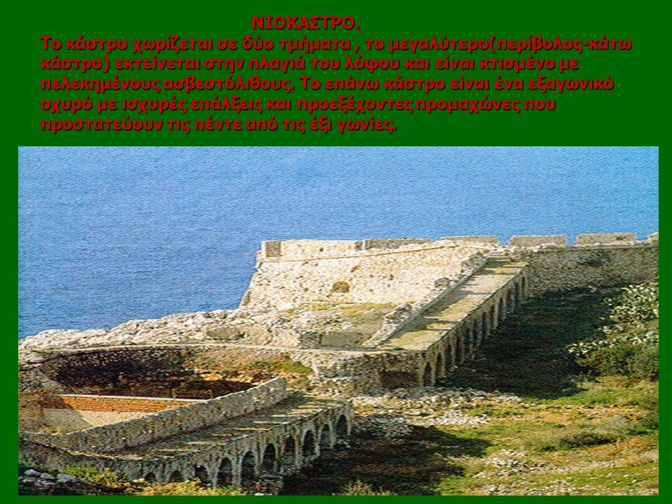 ΝΙΟΚΑΣΤΡΟ. Το κάστρο χωρίζεται σε δύο τμήματα, το μεγαλύτερο(περίβολος-κάτω κάστρο) εκτείνεται στην πλαγιά του λόφου και είναι κτισμένο με πελεκημένου