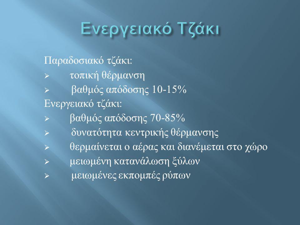Παραδοσιακό τζάκι :  τοπική θέρμανση  βαθμός απόδοσης 10-15% Ενεργειακό τζάκι :  βαθμός απόδοσης 70-85%  δυνατότητα κεντρικής θέρμανσης  θερμαίνε
