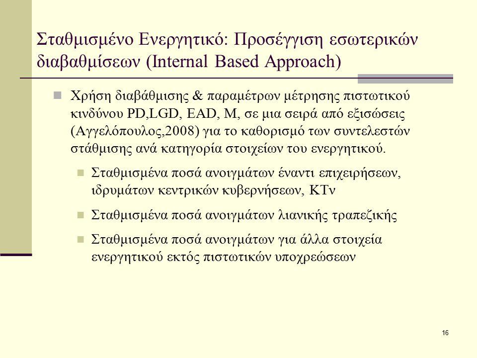 16 Σταθμισμένο Ενεργητικό: Προσέγγιση εσωτερικών διαβαθμίσεων (Internal Based Approach) Χρήση διαβάθμισης & παραμέτρων μέτρησης πιστωτικού κινδύνου PD
