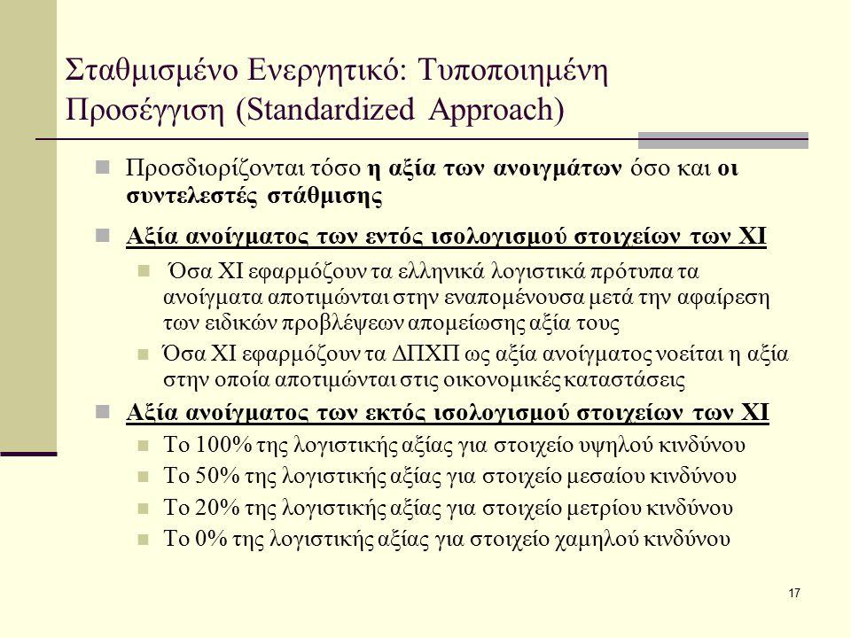 17 Σταθμισμένο Ενεργητικό: Τυποποιημένη Προσέγγιση (Standardized Approach) Προσδιορίζονται τόσο η αξία των ανοιγμάτων όσο και οι συντελεστές στάθμισης