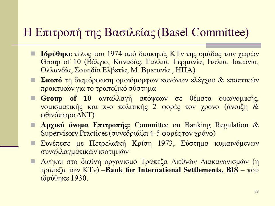 28 Η Επιτροπή της Βασιλείας (Basel Committee) Ιδρύθηκε τέλος του 1974 από διοικητές KTν της ομάδας των χωρών Group of 10 (Βέλγιο, Καναδάς, Γαλλία, Γερ